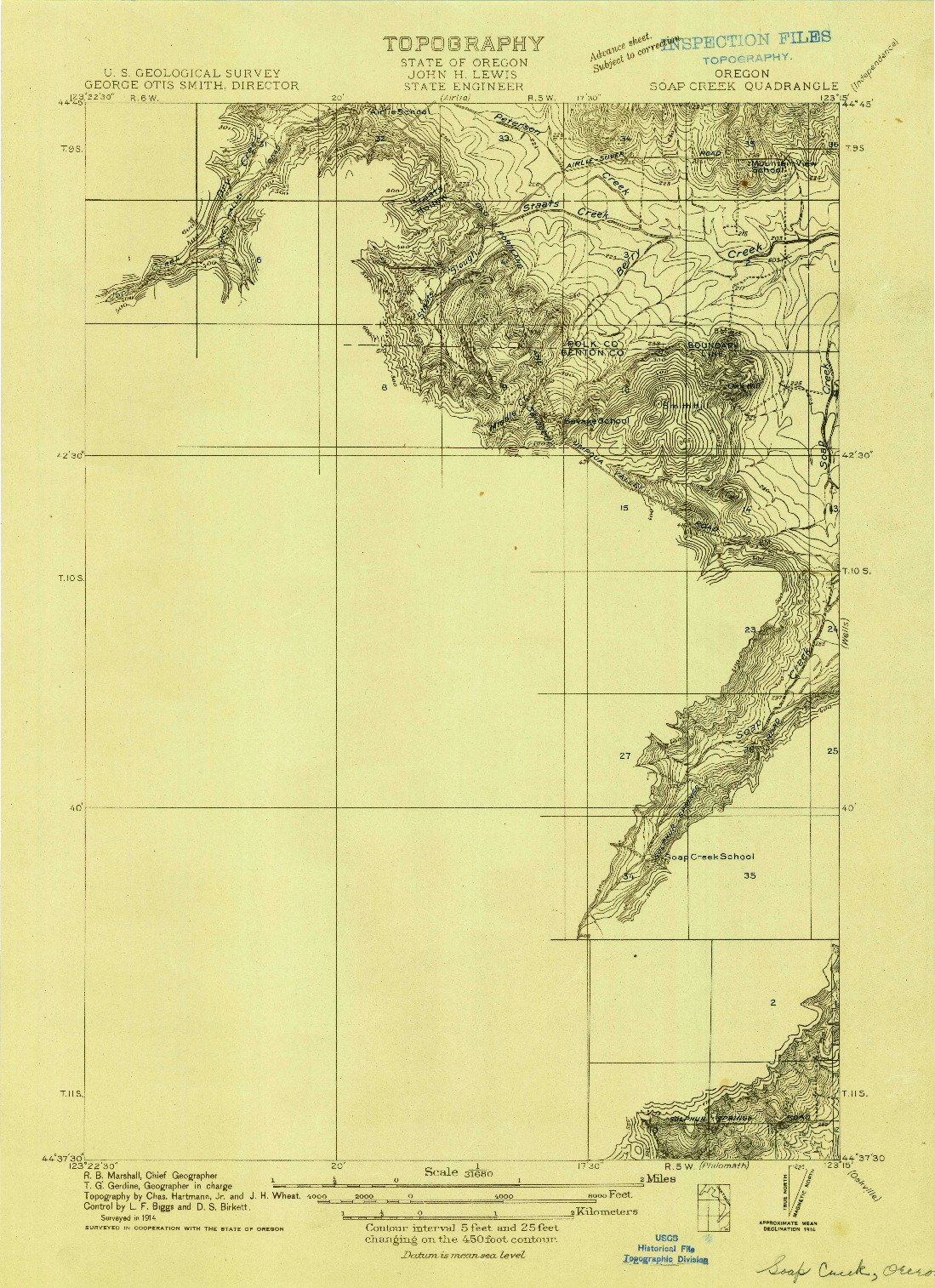 USGS 1:31680-SCALE QUADRANGLE FOR SOAP CREEK, OR 1914