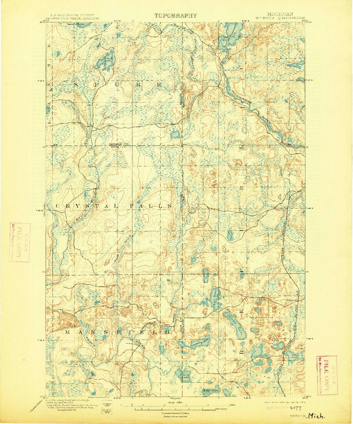 USGS 1:62500-SCALE QUADRANGLE FOR WITBECK, MI 1899