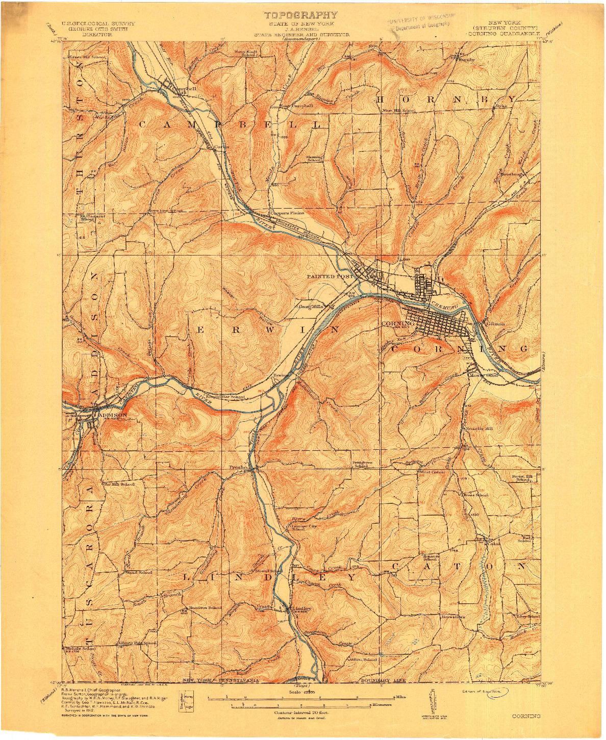 USGS 1:62500-SCALE QUADRANGLE FOR CORNING, NY 1914