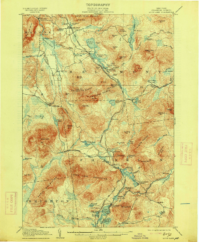 USGS 1:62500-SCALE QUADRANGLE FOR LOON LAKE, NY 1908