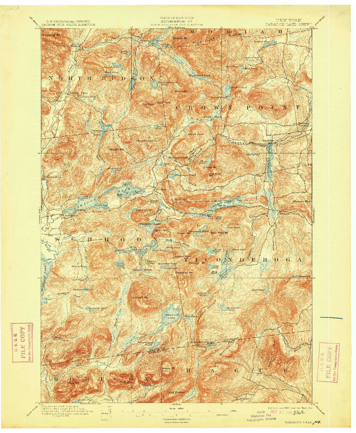 USGS 1:62500-SCALE QUADRANGLE FOR PARADOX LAKE, NY 1897