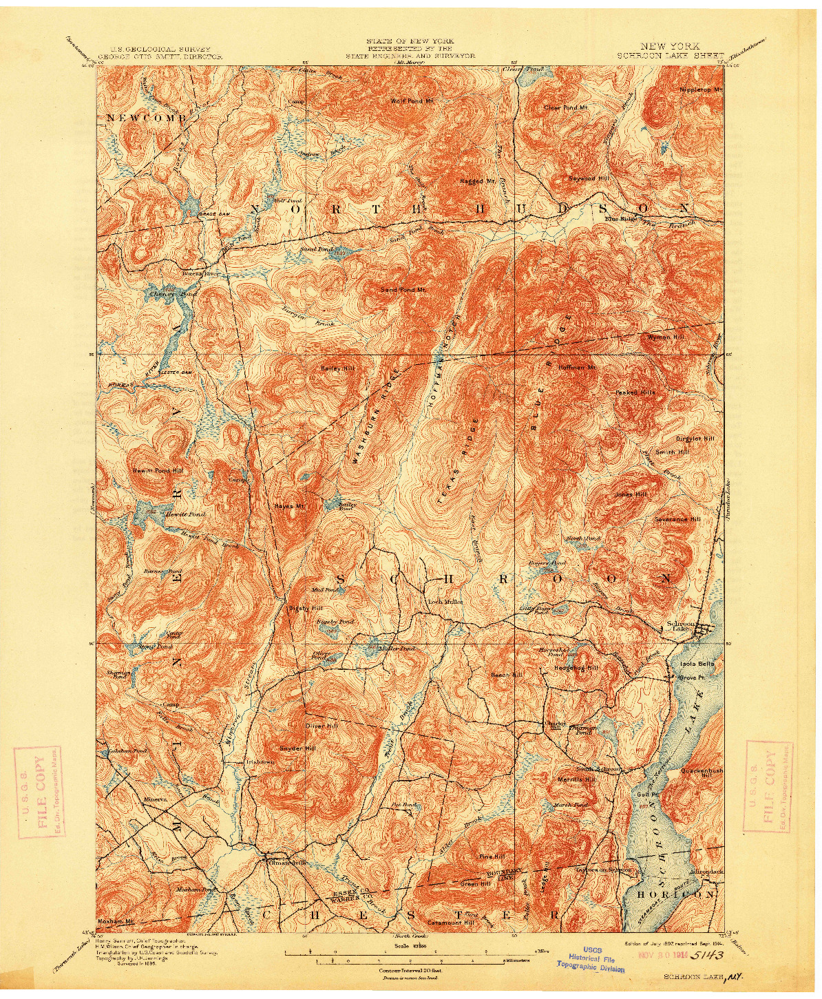 USGS 1:62500-SCALE QUADRANGLE FOR SCHROON LAKE, NY 1897