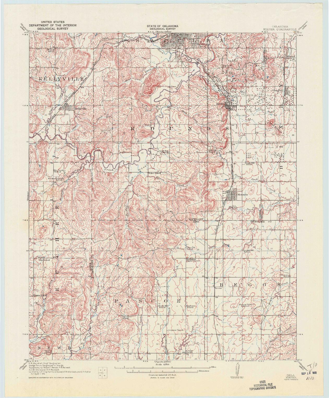 USGS 1:62500-SCALE QUADRANGLE FOR KIEFER, OK 1914