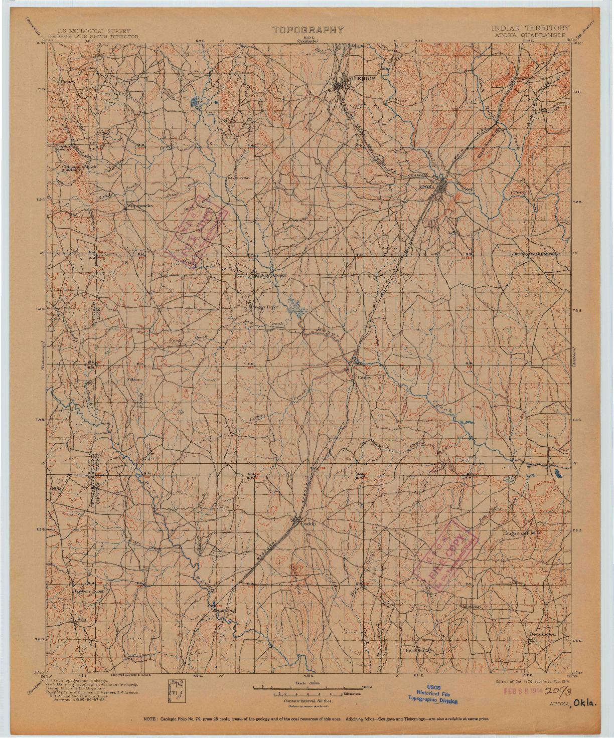 USGS 1:125000-SCALE QUADRANGLE FOR ATOKA, OK 1900