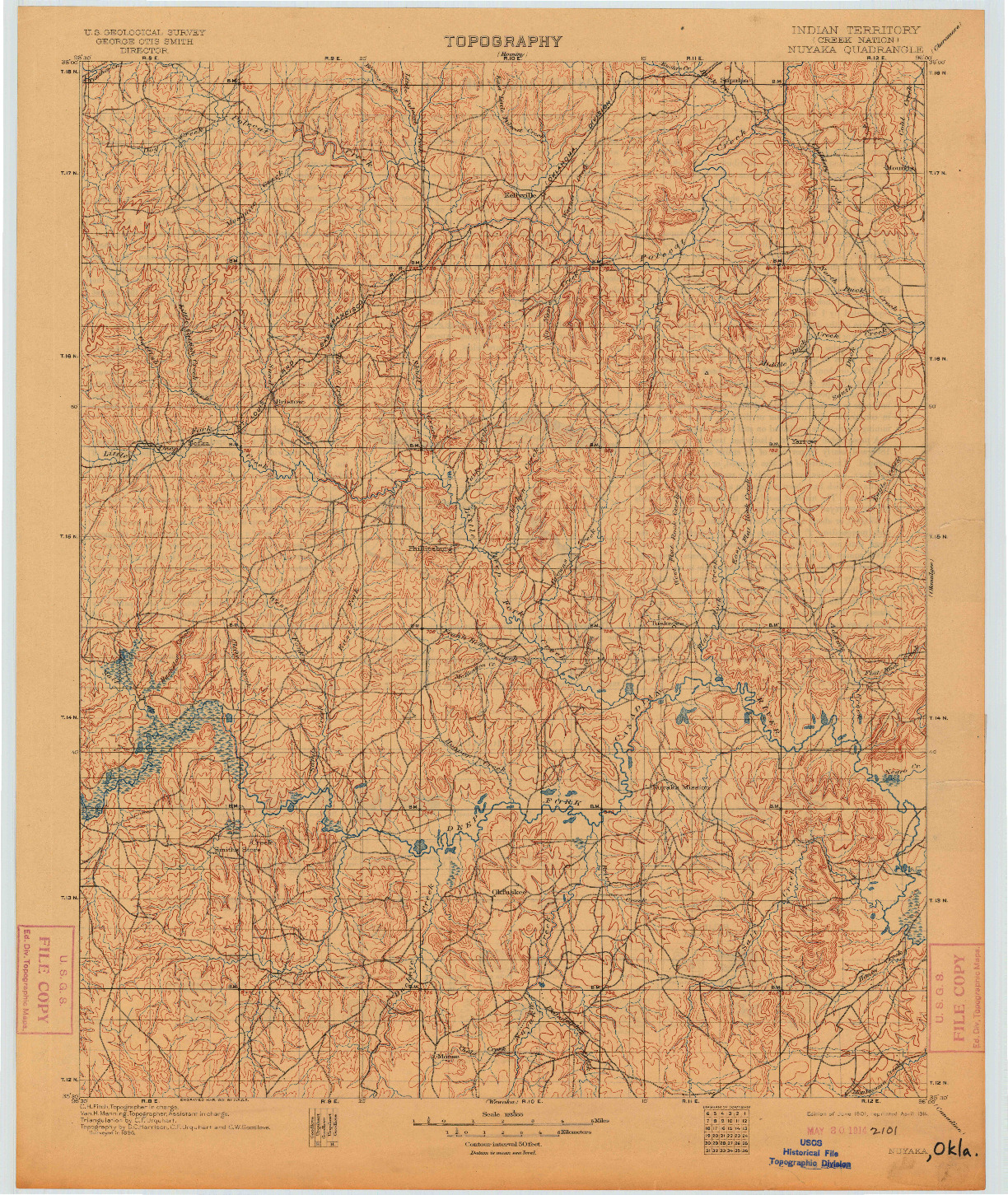 USGS 1:125000-SCALE QUADRANGLE FOR NUYAKA, OK 1901