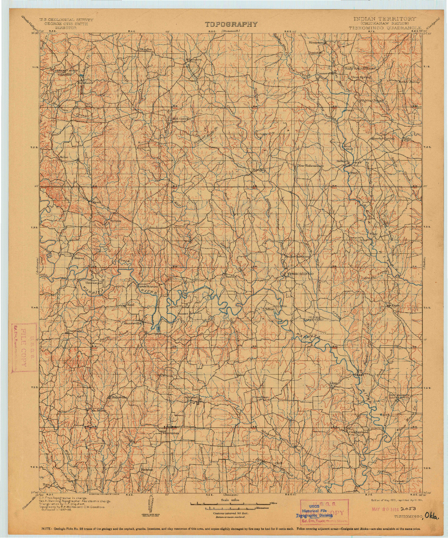 USGS 1:125000-SCALE QUADRANGLE FOR TISHOMINGO, OK 1901