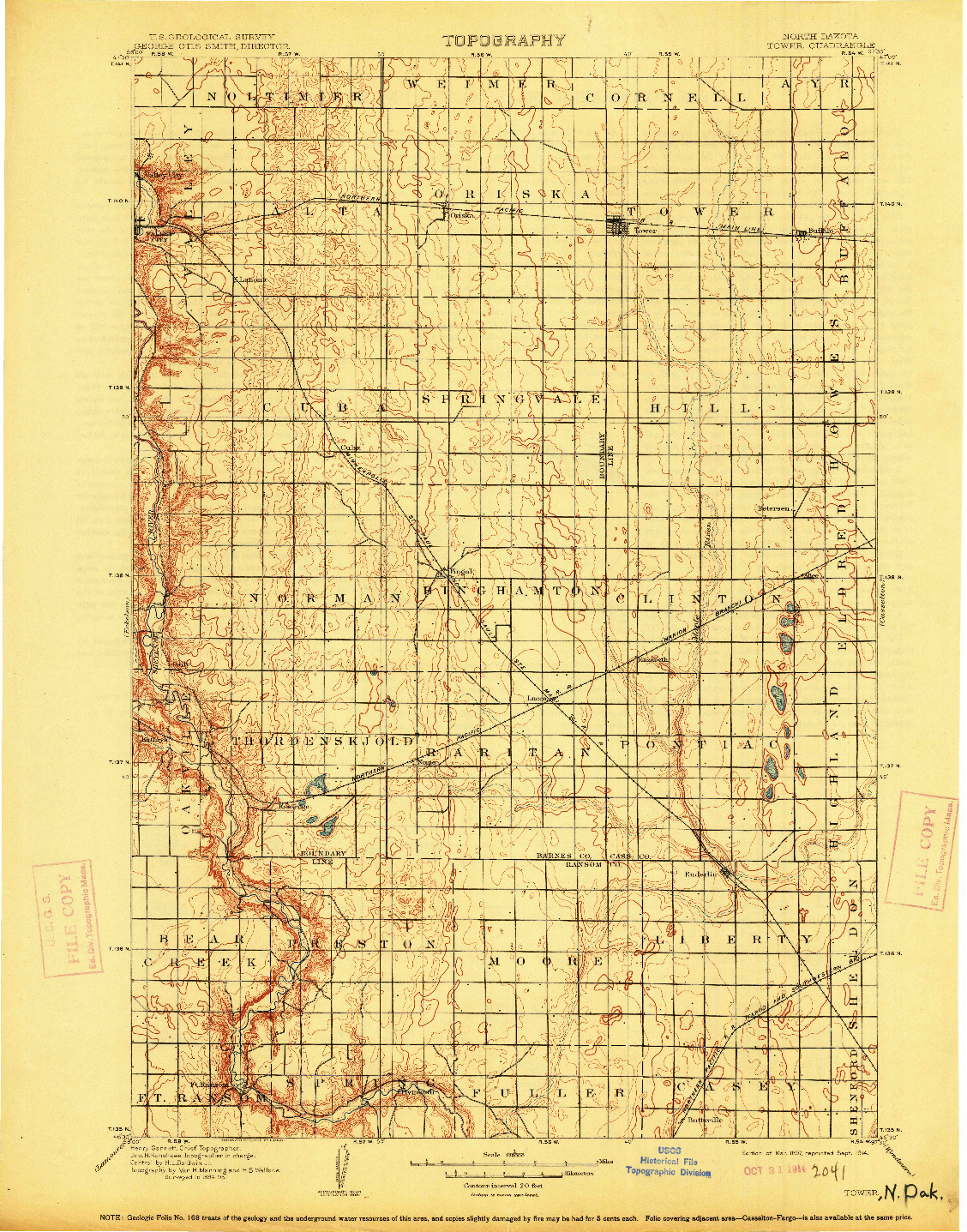 USGS 1:125000-SCALE QUADRANGLE FOR TOWER, ND 1897