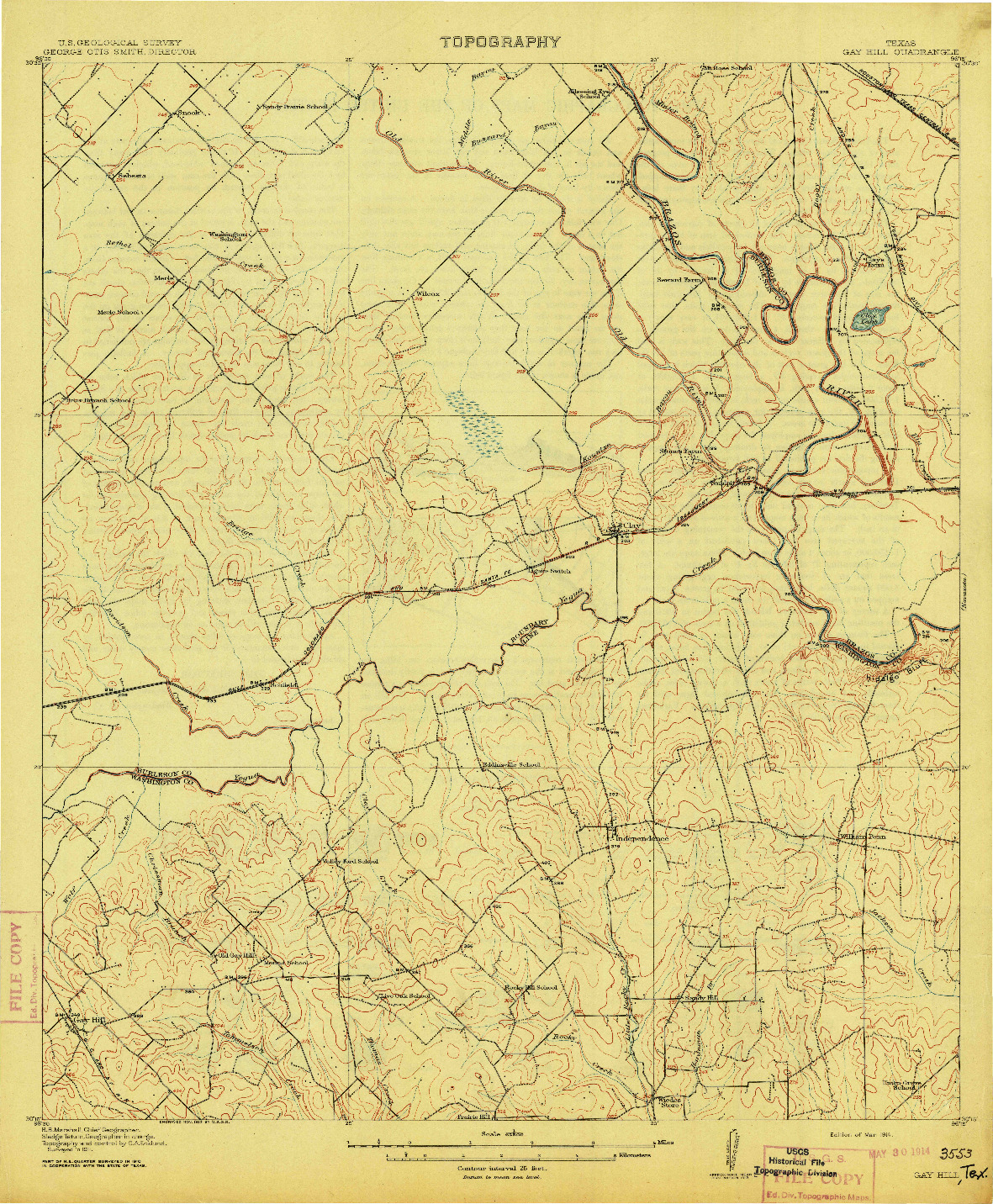 USGS 1:62500-SCALE QUADRANGLE FOR GAY HILL, TX 1914