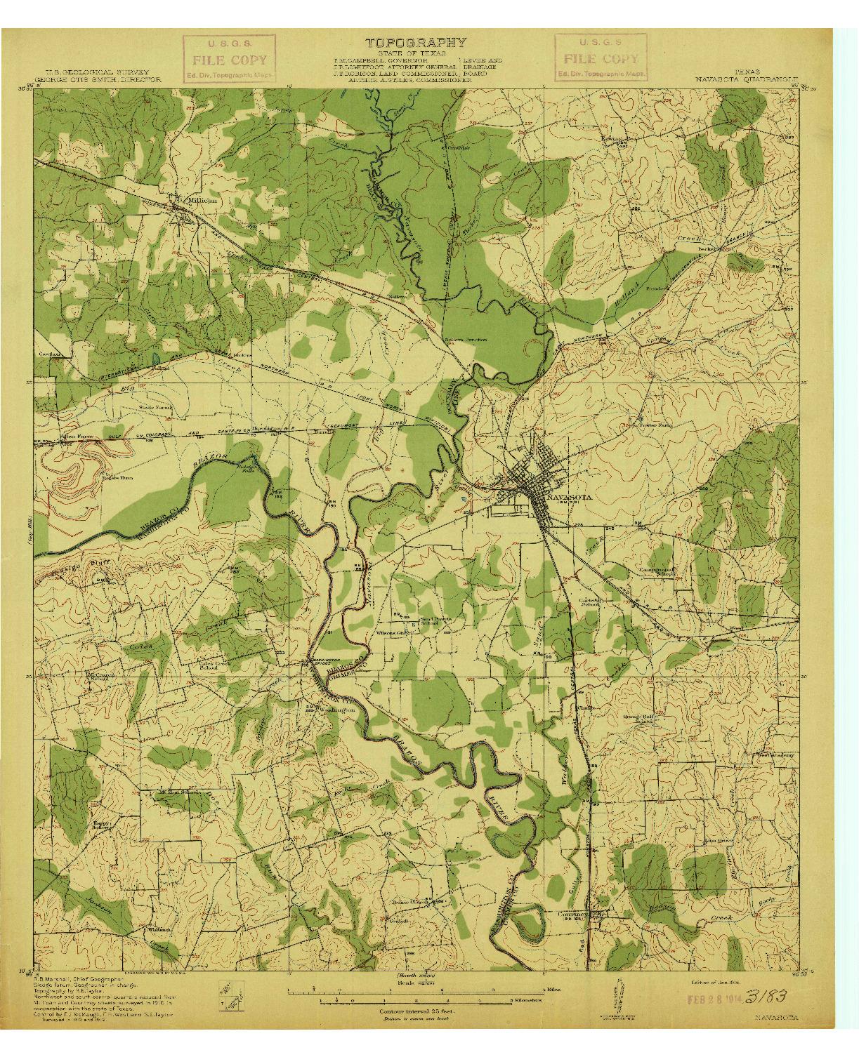 USGS 1:62500-SCALE QUADRANGLE FOR NAVASOTA, TX 1914
