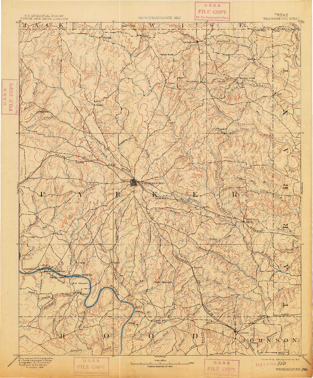 USGS 1:125000-SCALE QUADRANGLE FOR WEATHERFORD, TX 1893