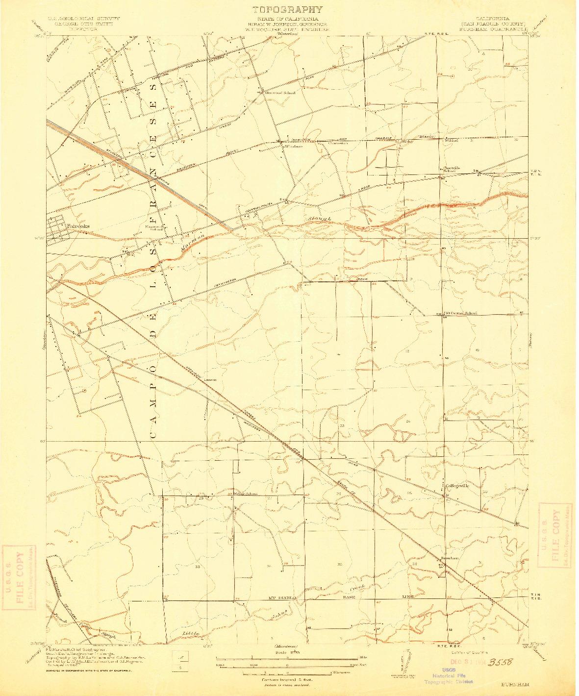 USGS 1:31680-SCALE QUADRANGLE FOR BURNHAM, CA 1914