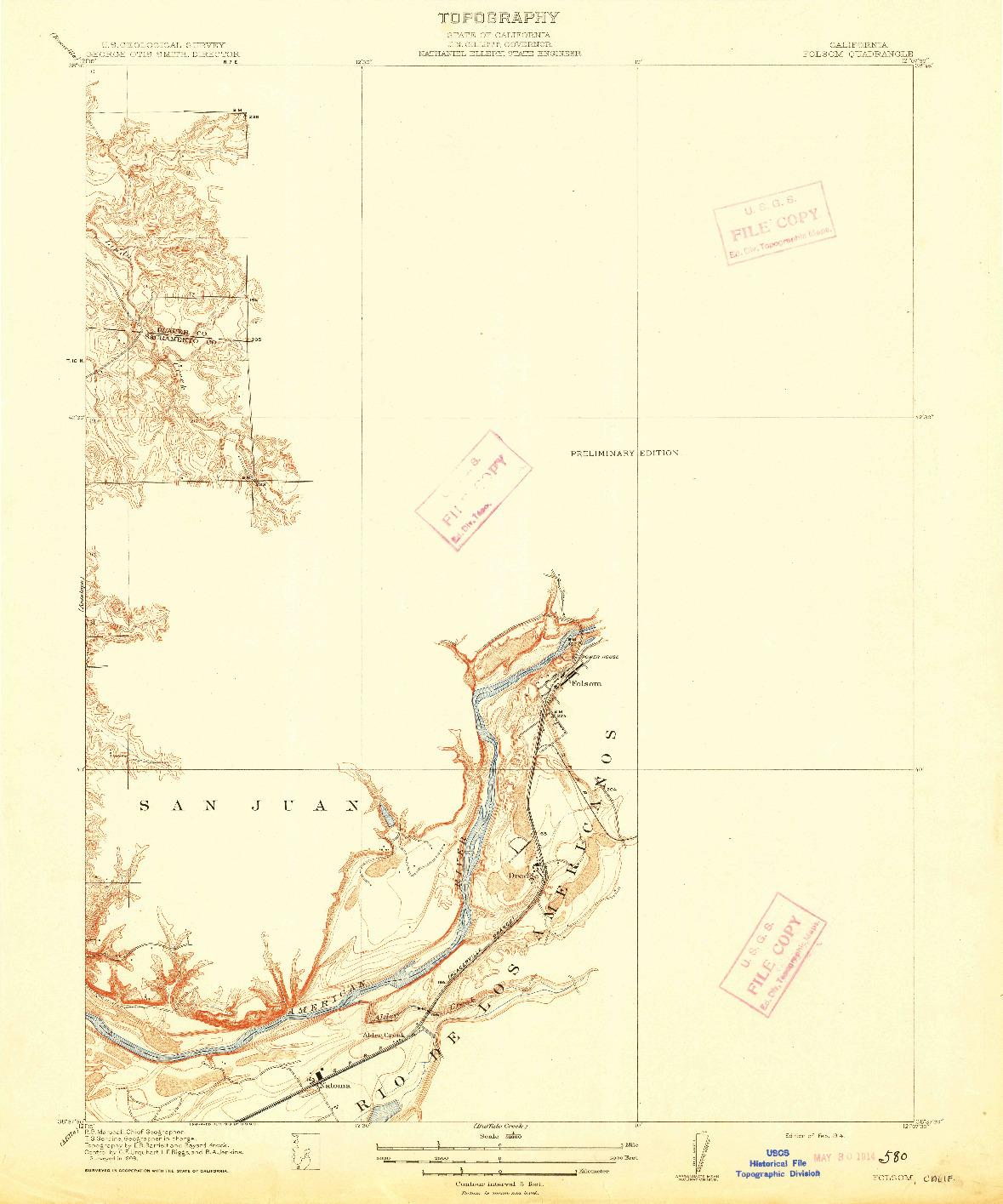 USGS 1:31680-SCALE QUADRANGLE FOR FOLSOM, CA 1914