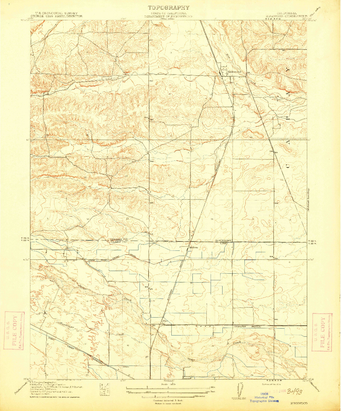 USGS 1:31680-SCALE QUADRANGLE FOR KIRKWOOD, CA 1914