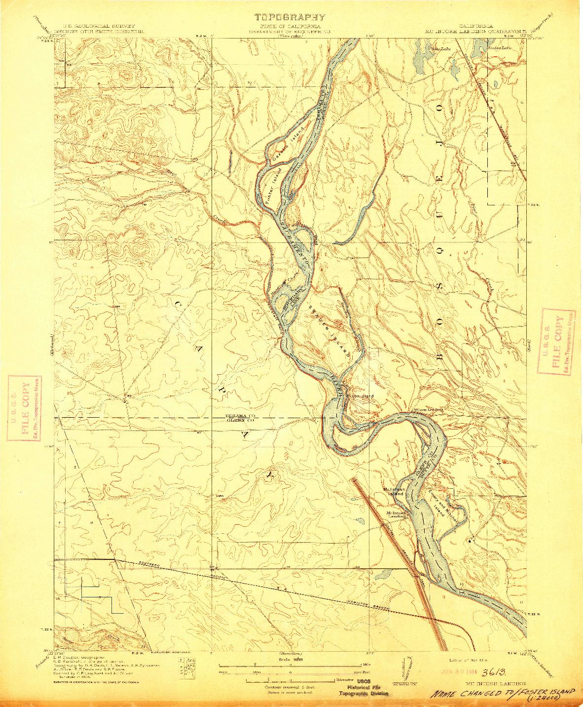 USGS 1:31680-SCALE QUADRANGLE FOR MCINTOSH LANDING, CA 1914