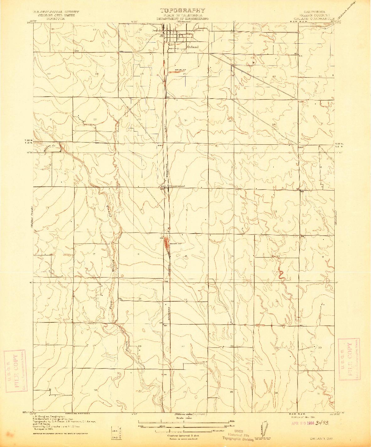 USGS 1:31680-SCALE QUADRANGLE FOR ORLAND, CA 1914
