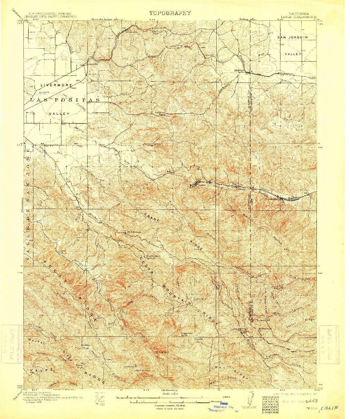 USGS 1:62500-SCALE QUADRANGLE FOR TESLA, CA 1907