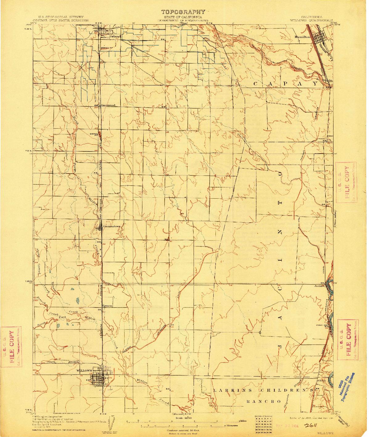 USGS 1:62500-SCALE QUADRANGLE FOR WILLOWS, CA 1906