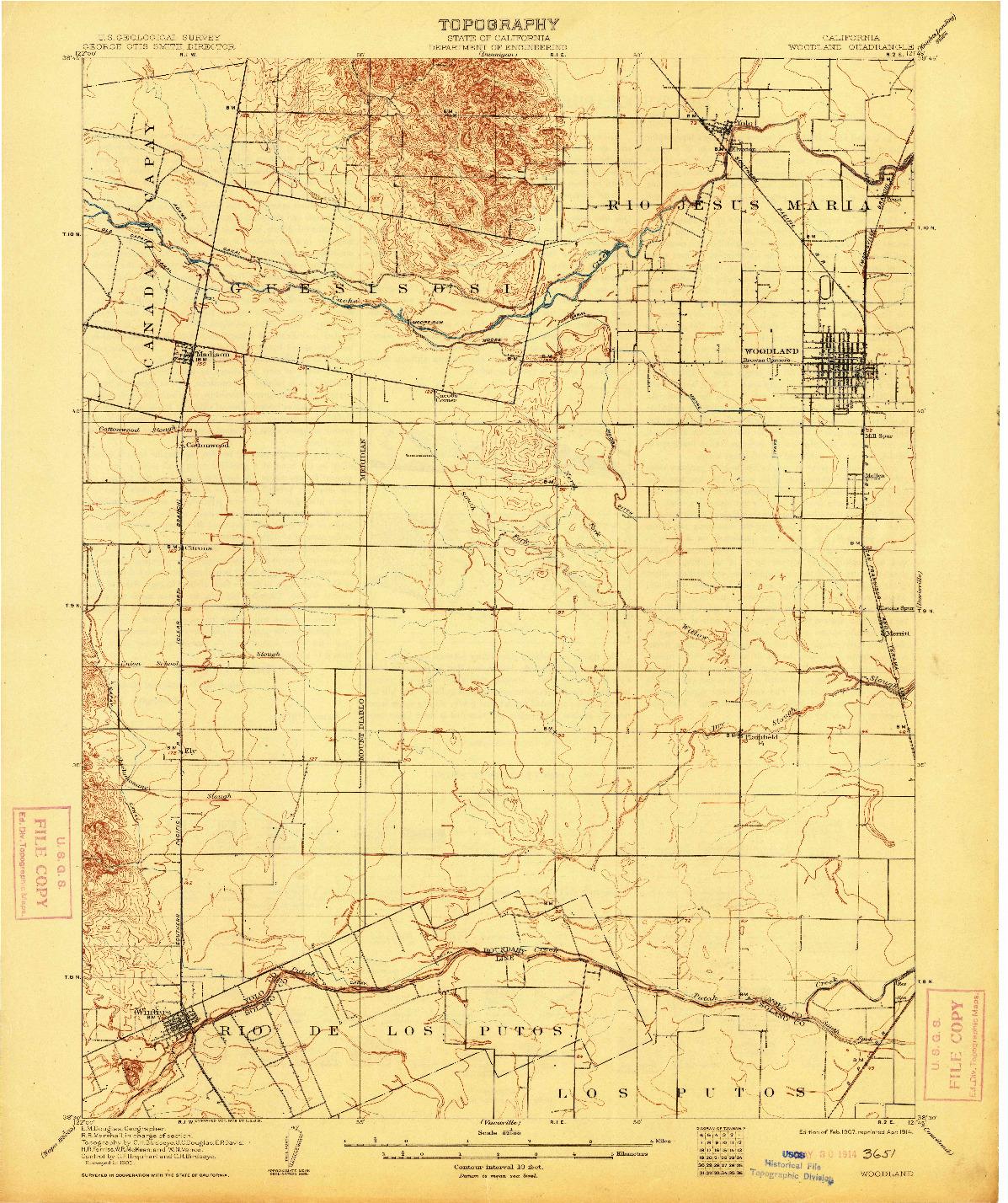 USGS 1:62500-SCALE QUADRANGLE FOR WOODLAND, CA 1907