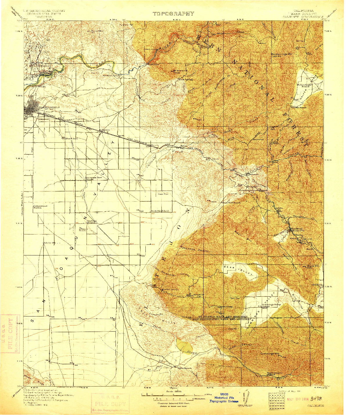 USGS 1:125000-SCALE QUADRANGLE FOR CALIENTE, CA 1914