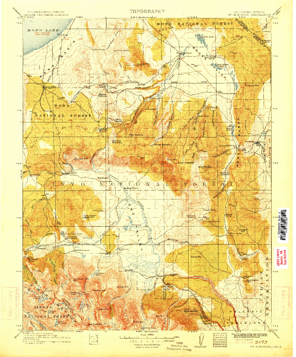 USGS 1:125000-SCALE QUADRANGLE FOR MT. MORRISON, CA 1914