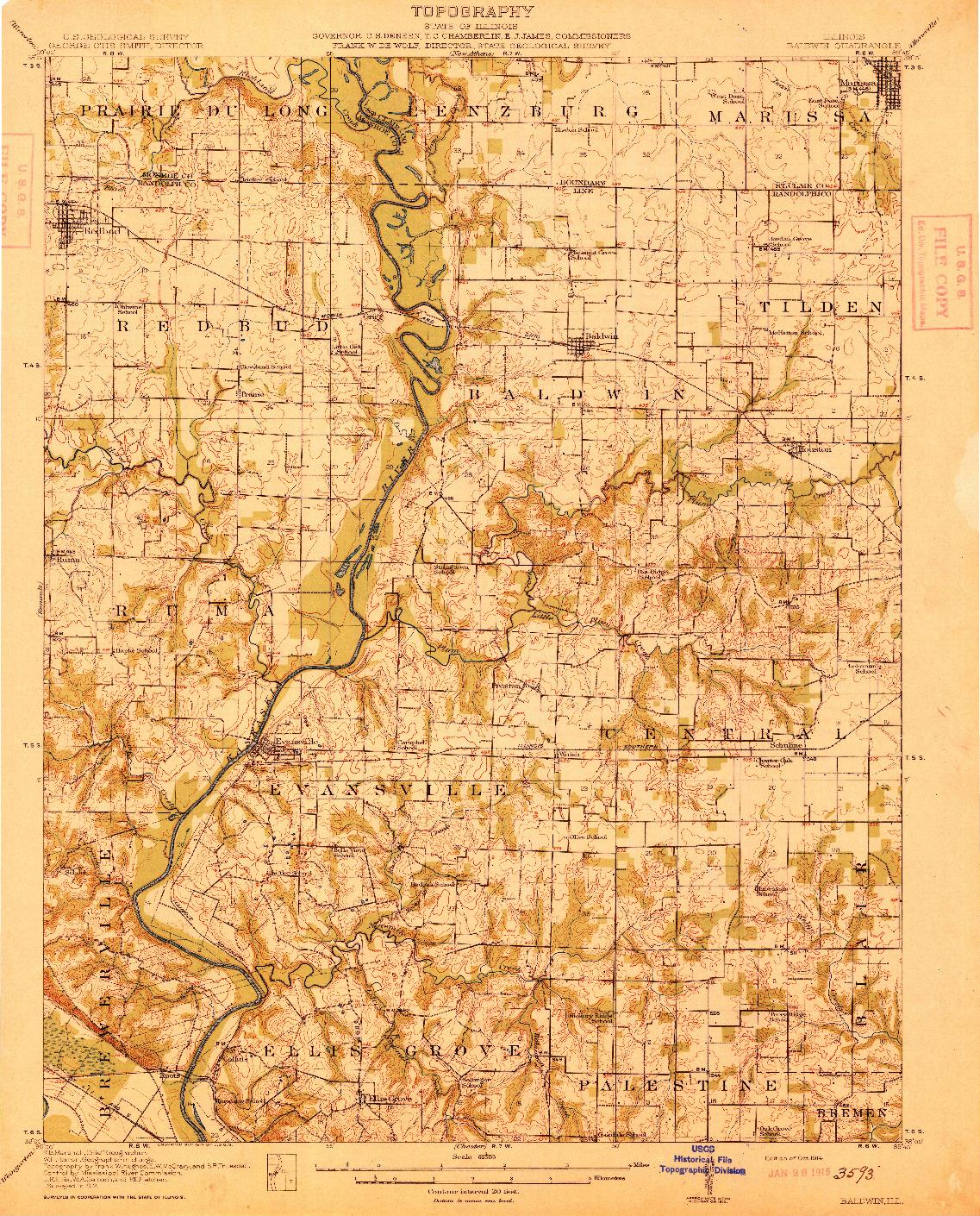 USGS 1:62500-SCALE QUADRANGLE FOR BALDWIN, IL 1914