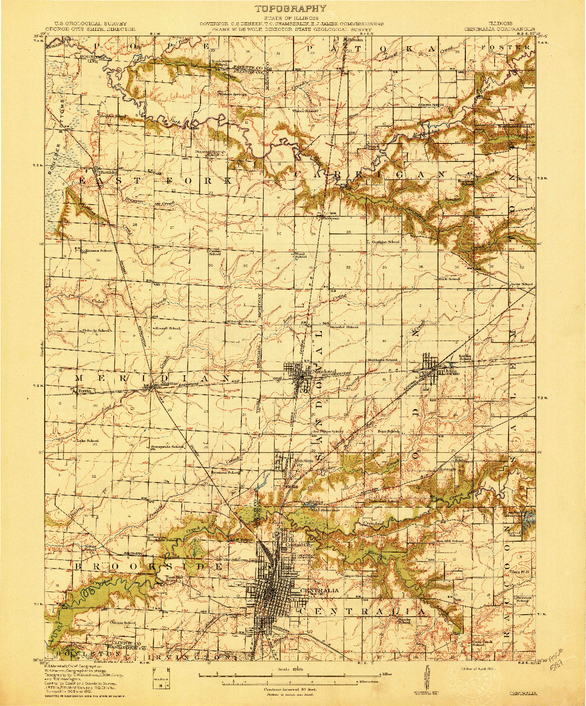 USGS 1:62500-SCALE QUADRANGLE FOR CENTRALIA, IL 1914