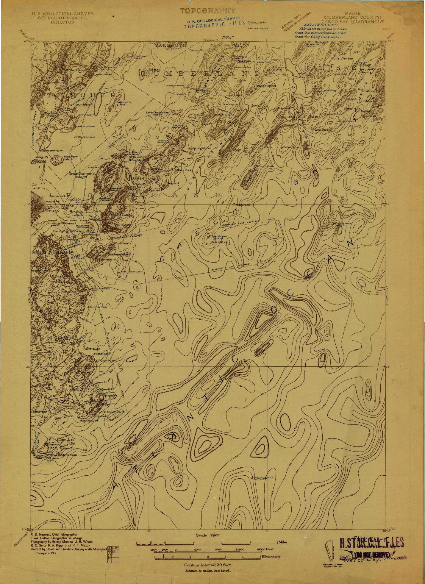 USGS 1:48000-SCALE QUADRANGLE FOR CASCO BAY, ME 1914