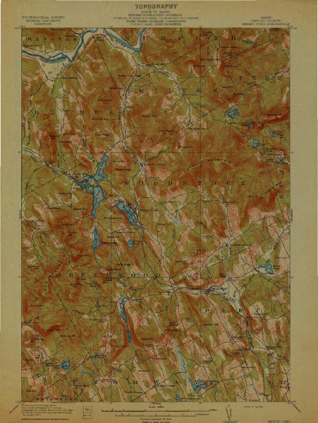 USGS 1:62500-SCALE QUADRANGLE FOR BRYANT POND, ME 1914