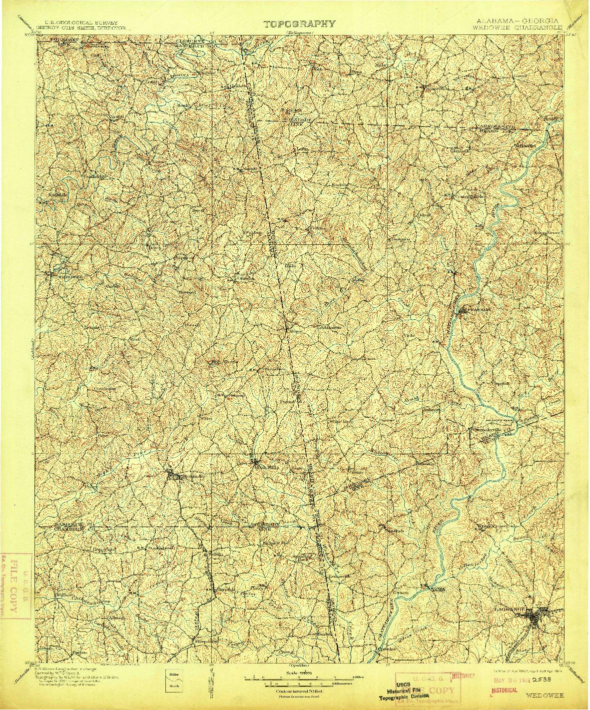 USGS 1:125000-SCALE QUADRANGLE FOR WEDOWEE, AL 1902