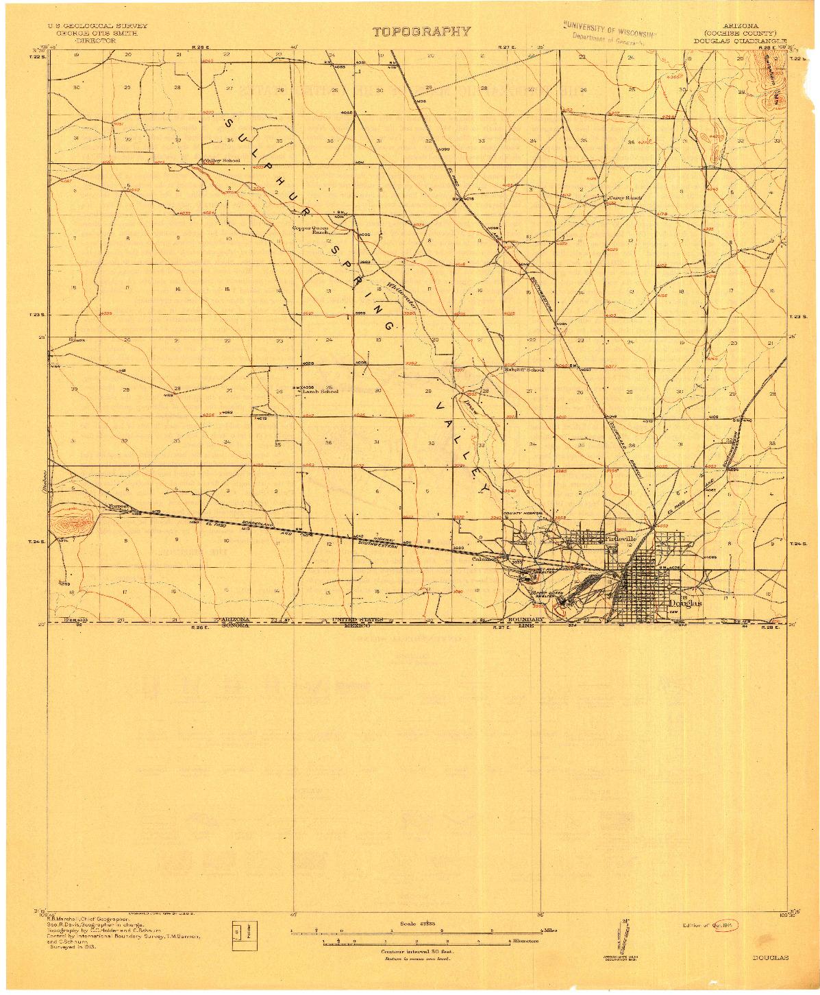 USGS 1:62500-SCALE QUADRANGLE FOR DOUGLAS, AZ 1914
