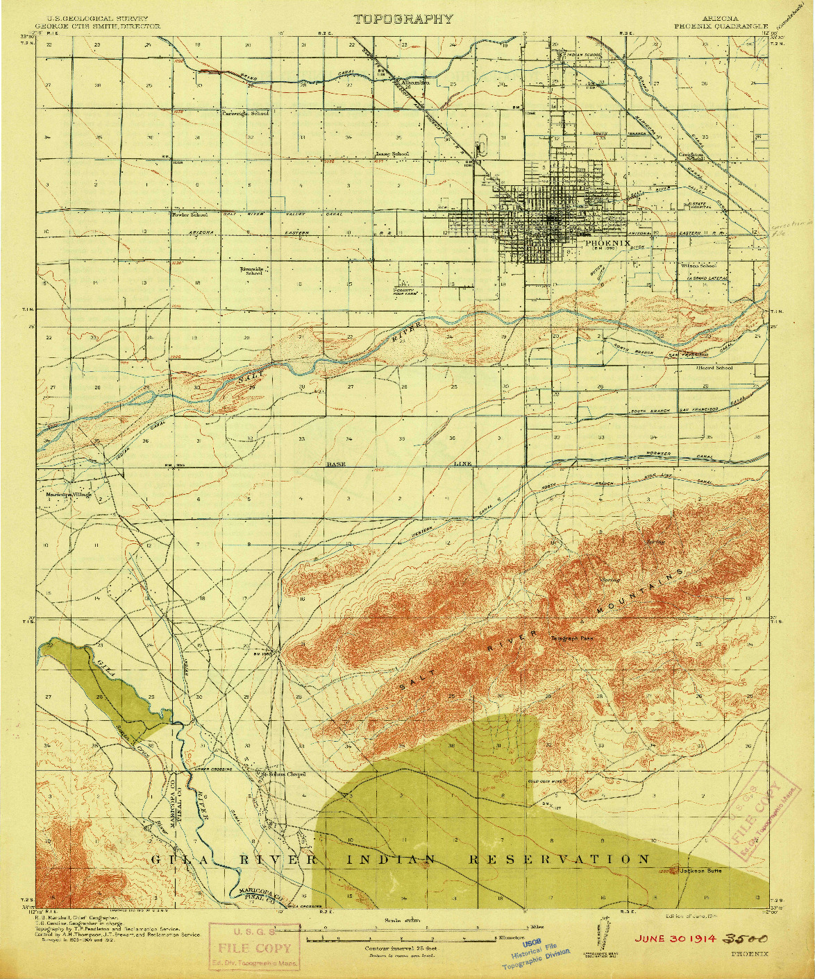 USGS 1:62500-SCALE QUADRANGLE FOR PHOENIX, AZ 1914