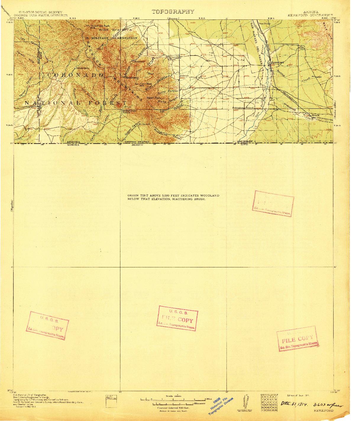 USGS 1:125000-SCALE QUADRANGLE FOR HEREFORD, AZ 1914