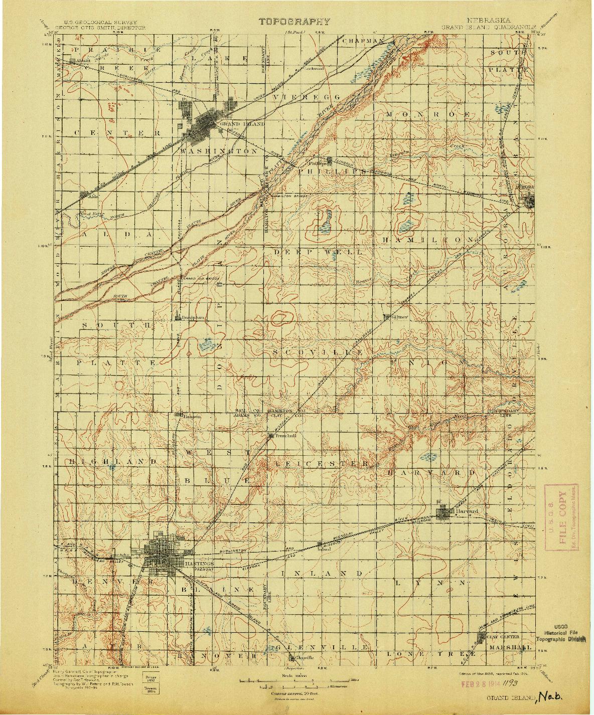 USGS 1:125000-SCALE QUADRANGLE FOR GRAND ISLAND, NE 1898