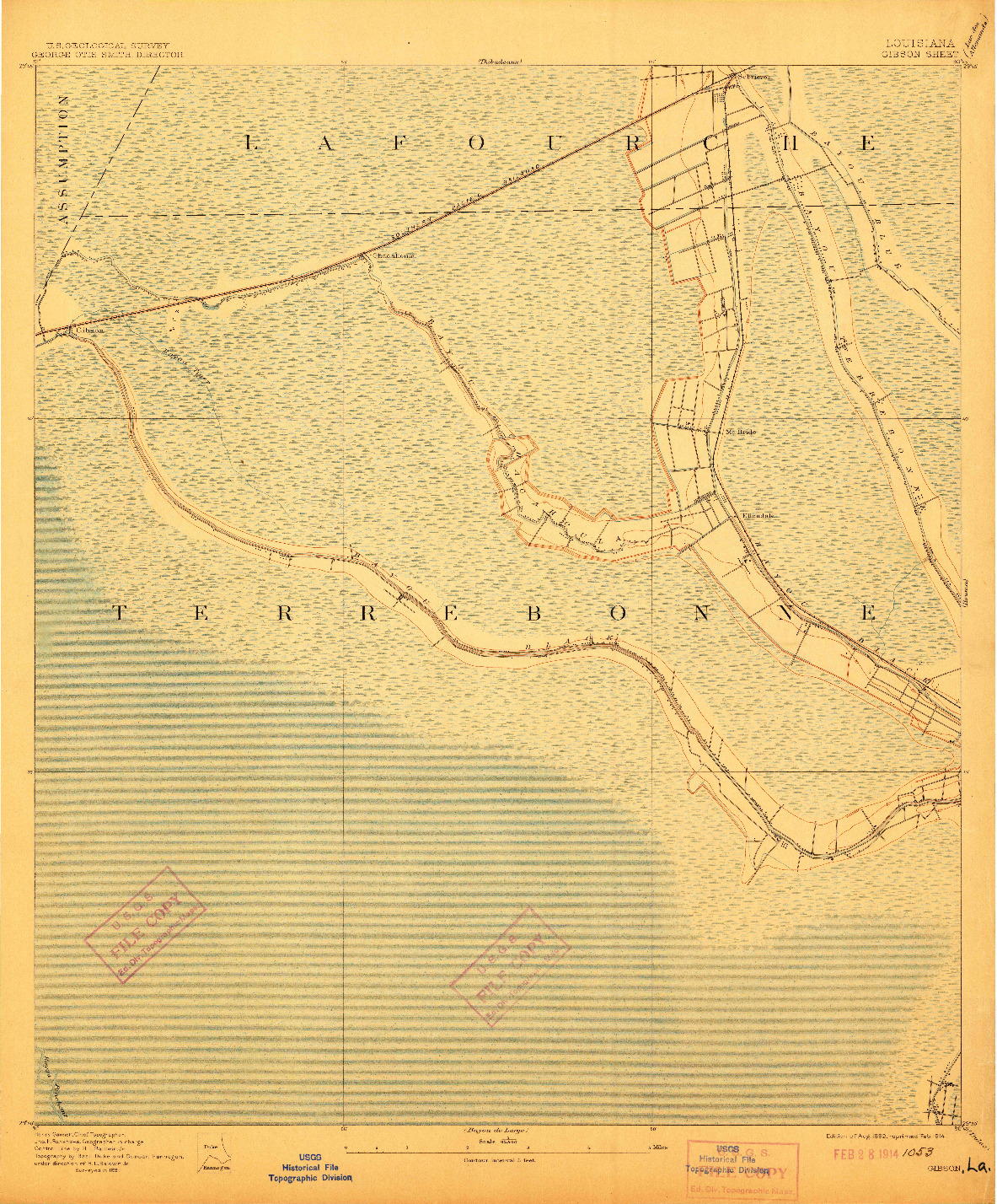 USGS 1:62500-SCALE QUADRANGLE FOR GIBSON, LA 1892