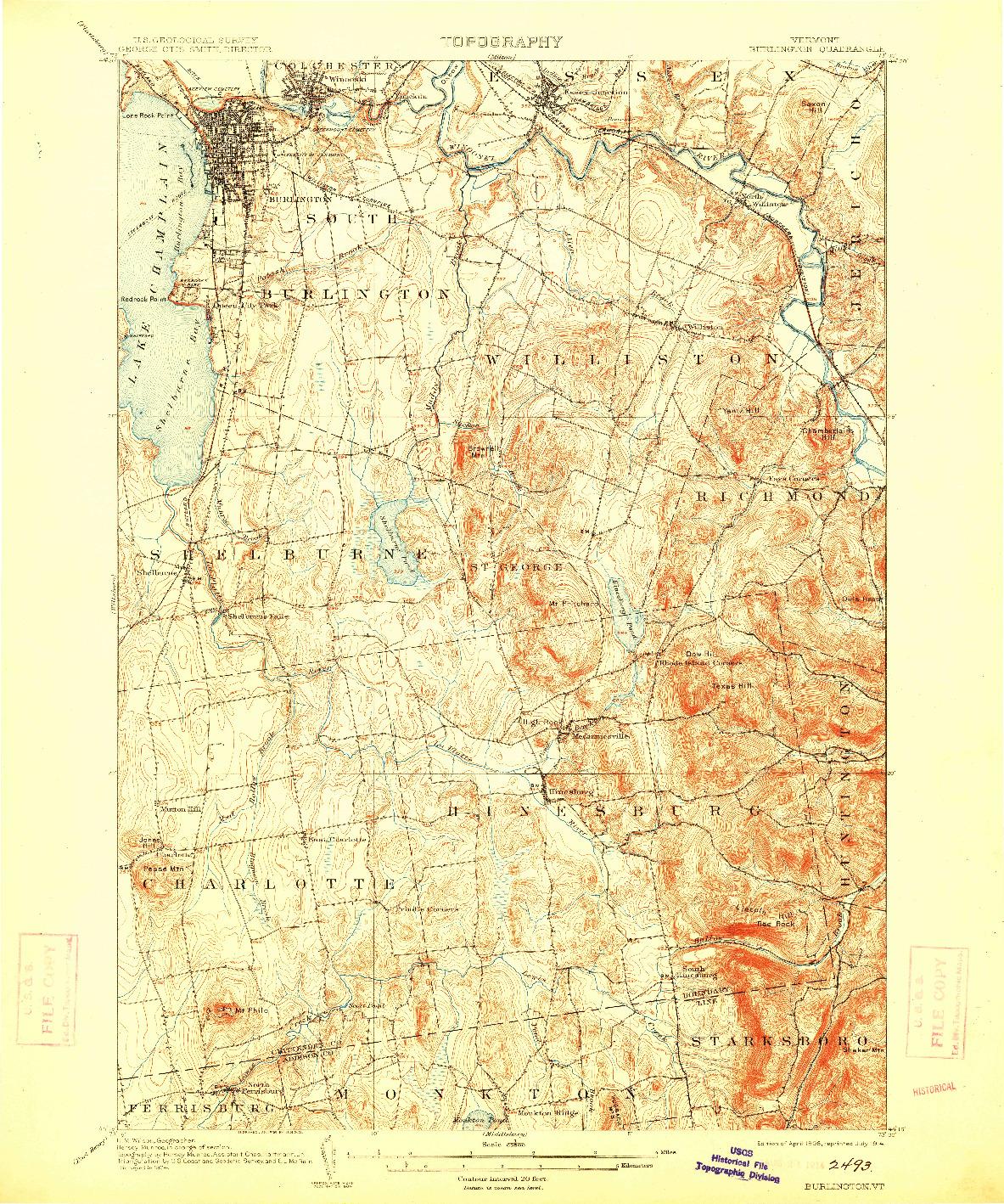 USGS 1:62500-SCALE QUADRANGLE FOR BURLINGTON, VT 1906