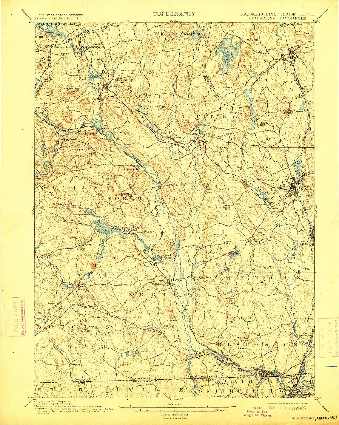 USGS 1:62500-SCALE QUADRANGLE FOR BLACKSTONE, MA 1900