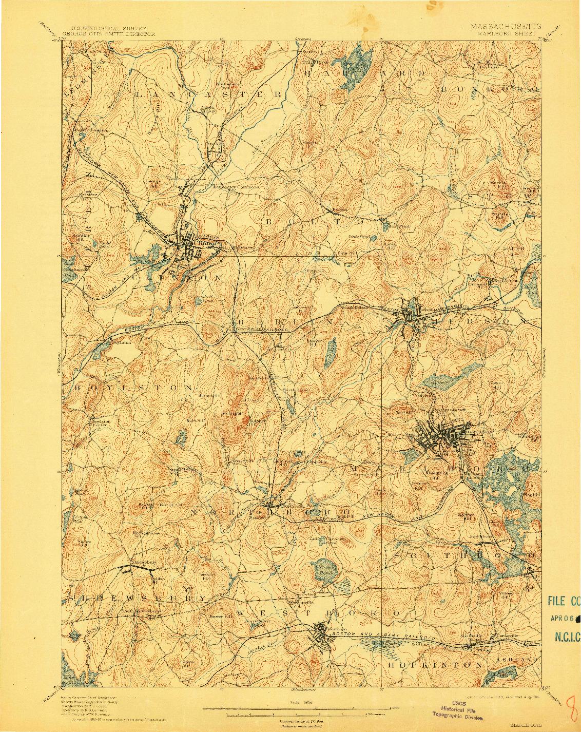 USGS 1:62500-SCALE QUADRANGLE FOR MARLBORO, MA 1898