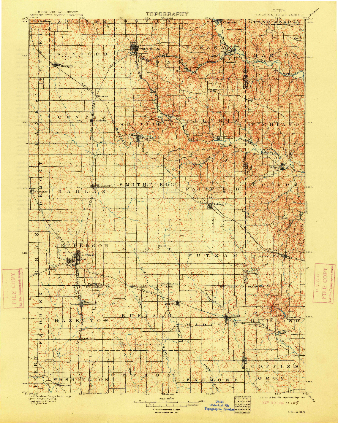 USGS 1:125000-SCALE QUADRANGLE FOR OELWEIN, IA 1901