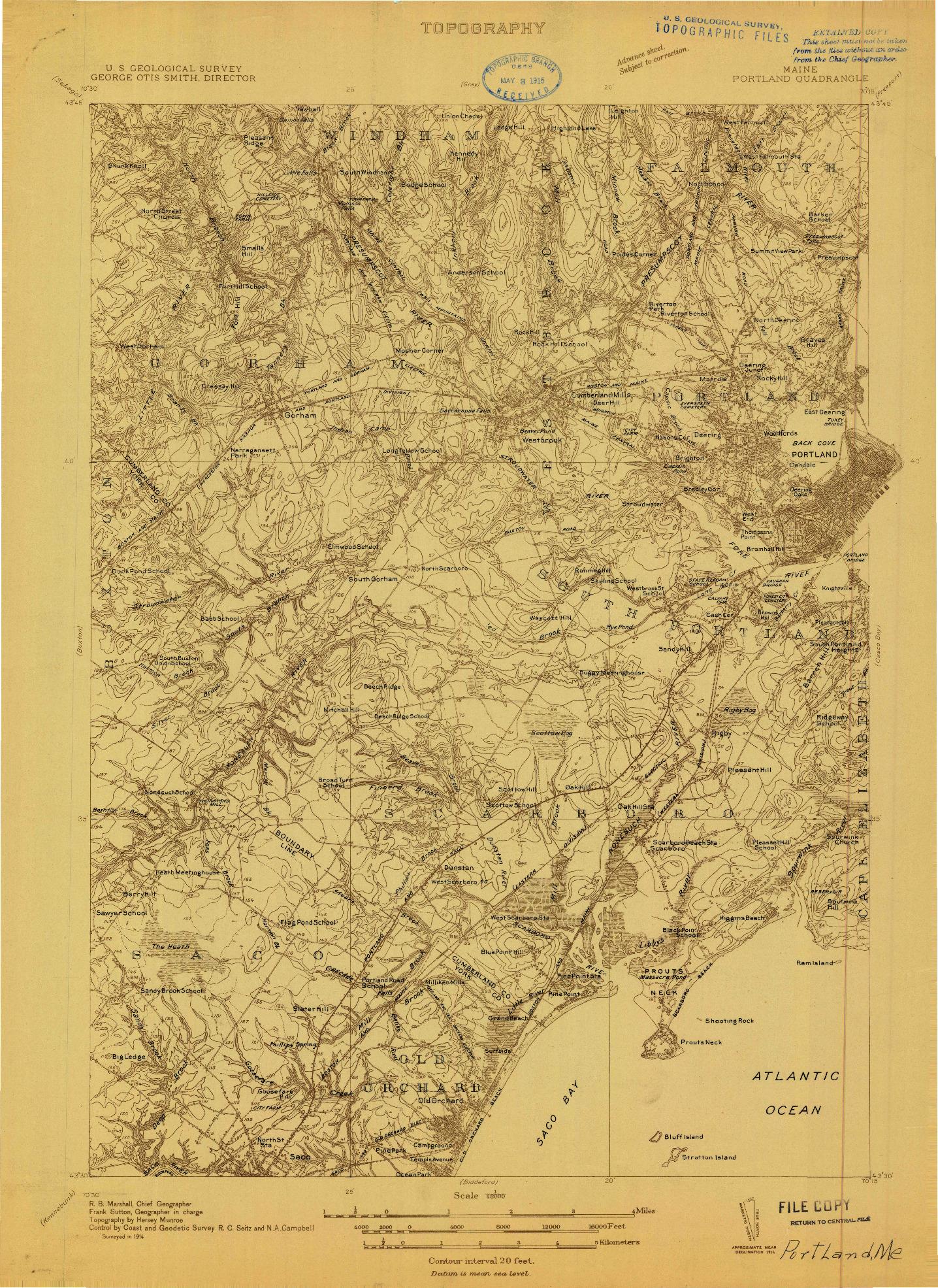 USGS 1:48000-SCALE QUADRANGLE FOR PORTLAND, ME 1914