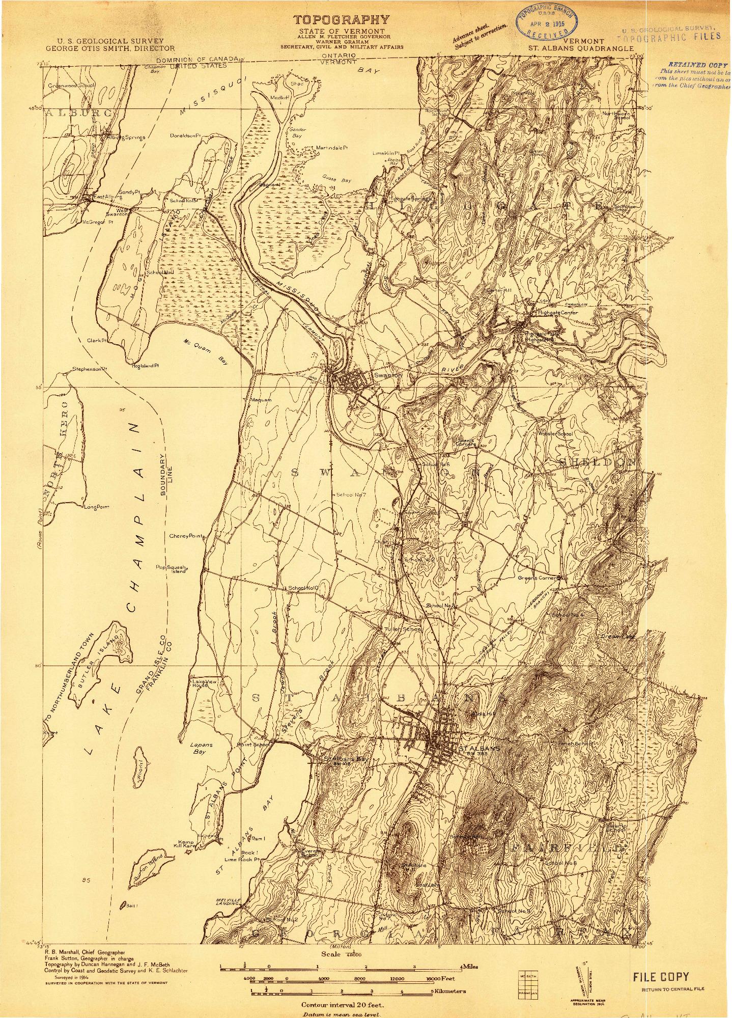 USGS 1:48000-SCALE QUADRANGLE FOR ST. ALBANS, VT 1914