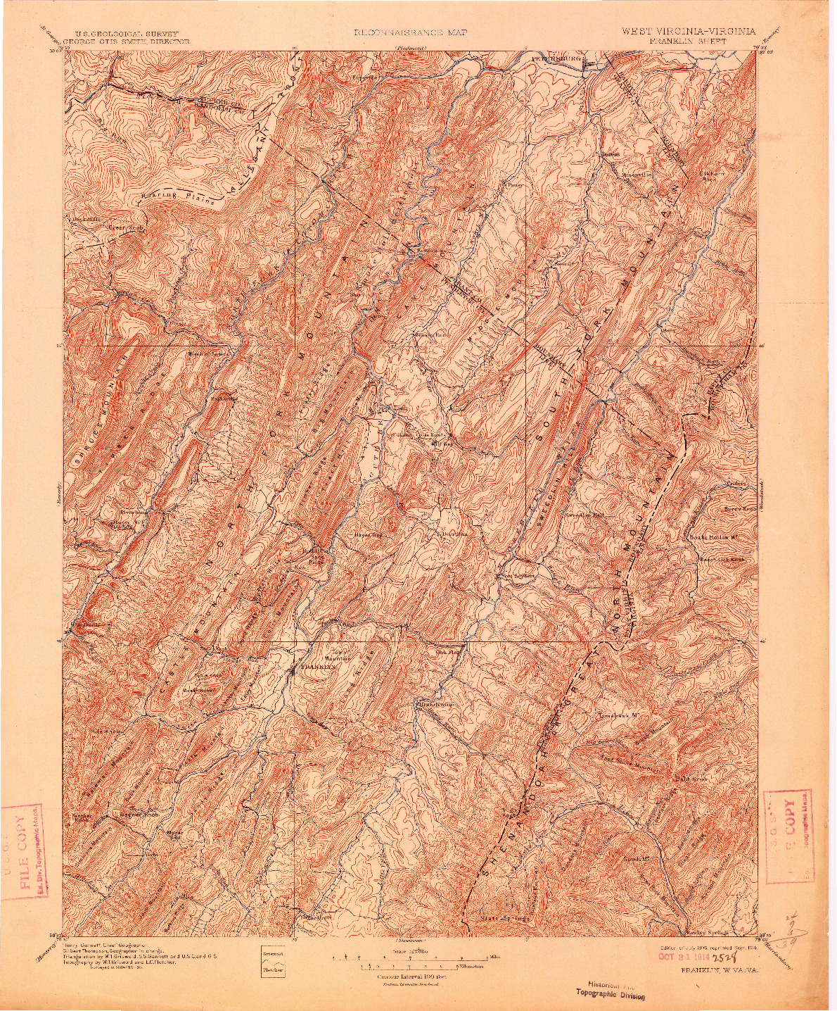 USGS 1:125000-SCALE QUADRANGLE FOR FRANKLIN, WV 1896
