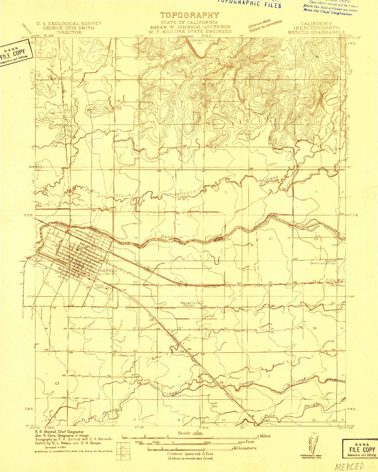 USGS 1:31680-SCALE QUADRANGLE FOR MERCED, CA 1914
