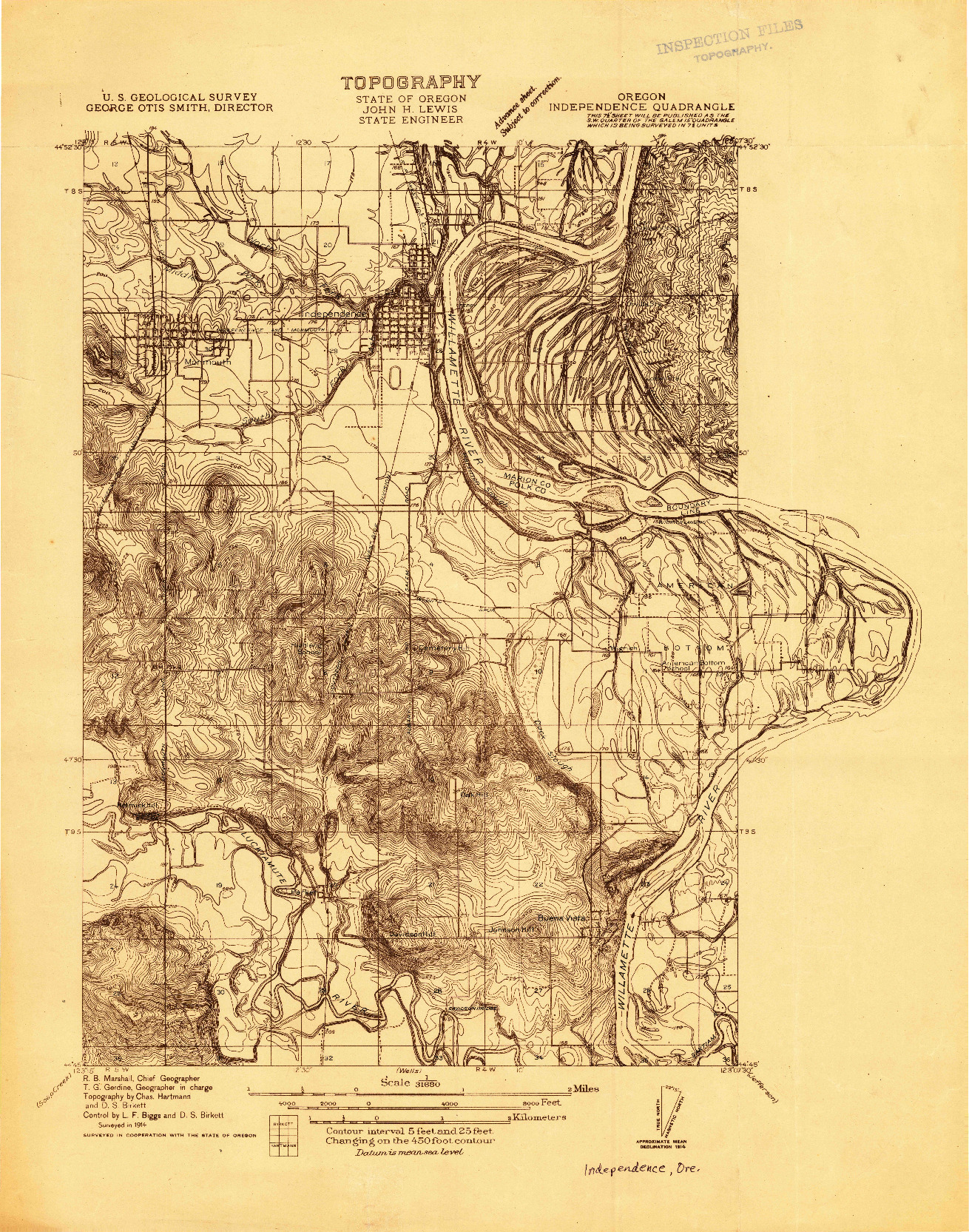 USGS 1:31680-SCALE QUADRANGLE FOR INDEPENDENCE, OR 1914
