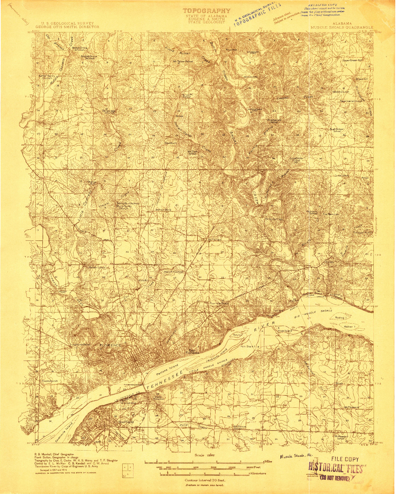 USGS 1:48000-SCALE QUADRANGLE FOR MUSCLE SHOALS, AL 1914