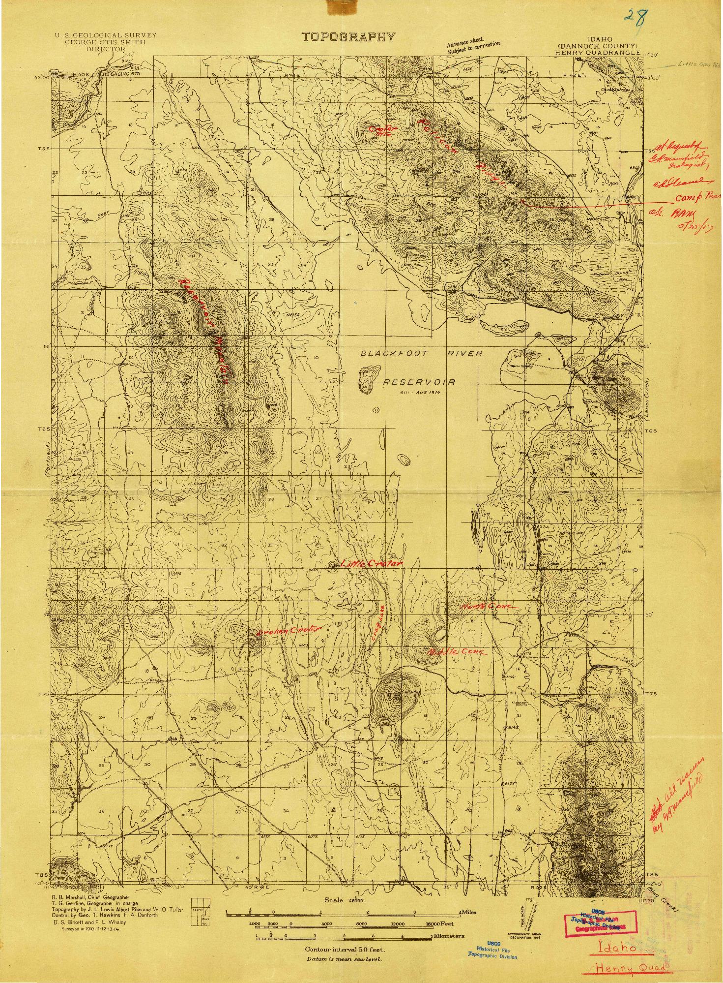 USGS 1:48000-SCALE QUADRANGLE FOR HENRY, ID 1914