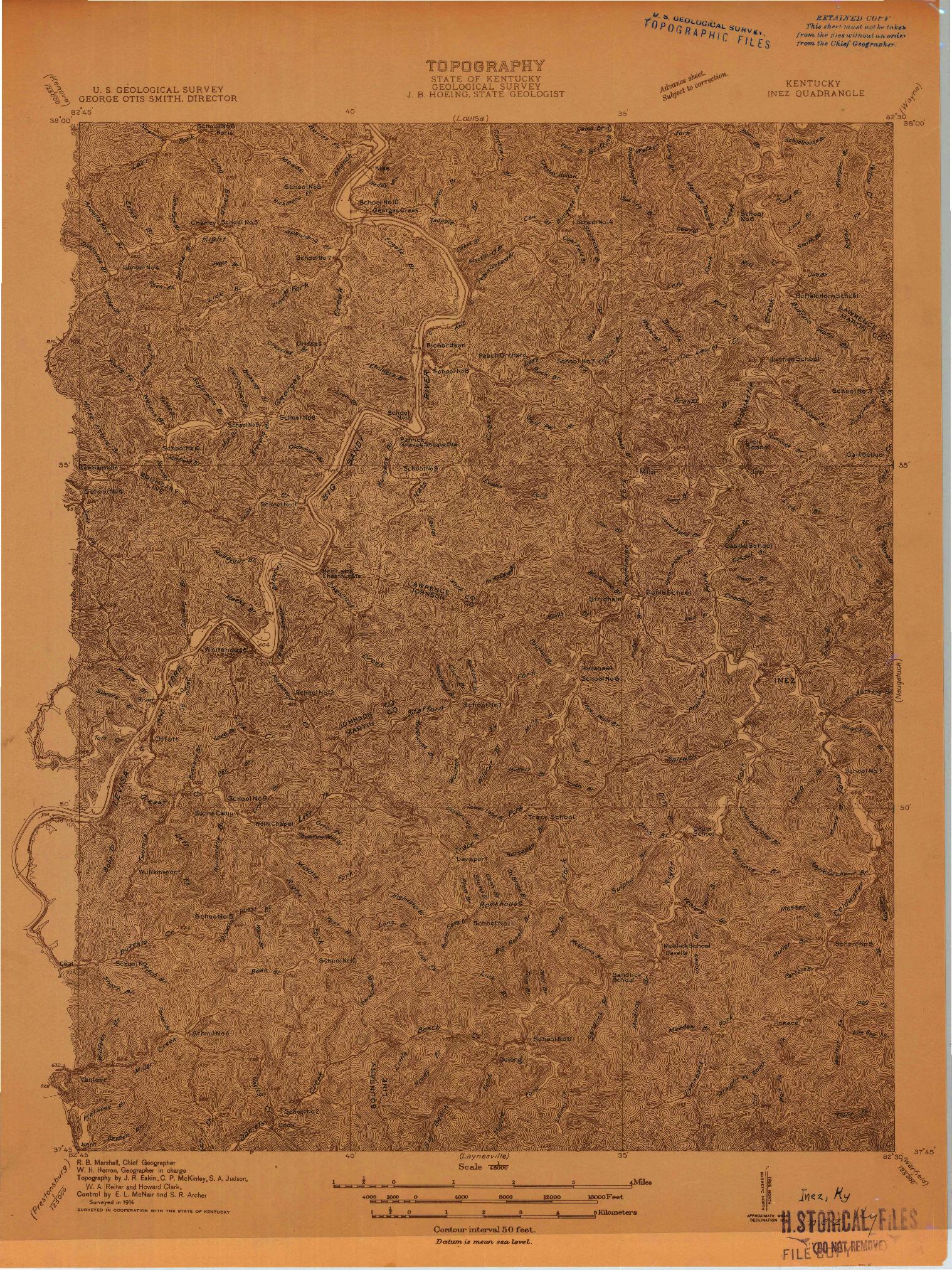 USGS 1:48000-SCALE QUADRANGLE FOR INEZ, KY 1914