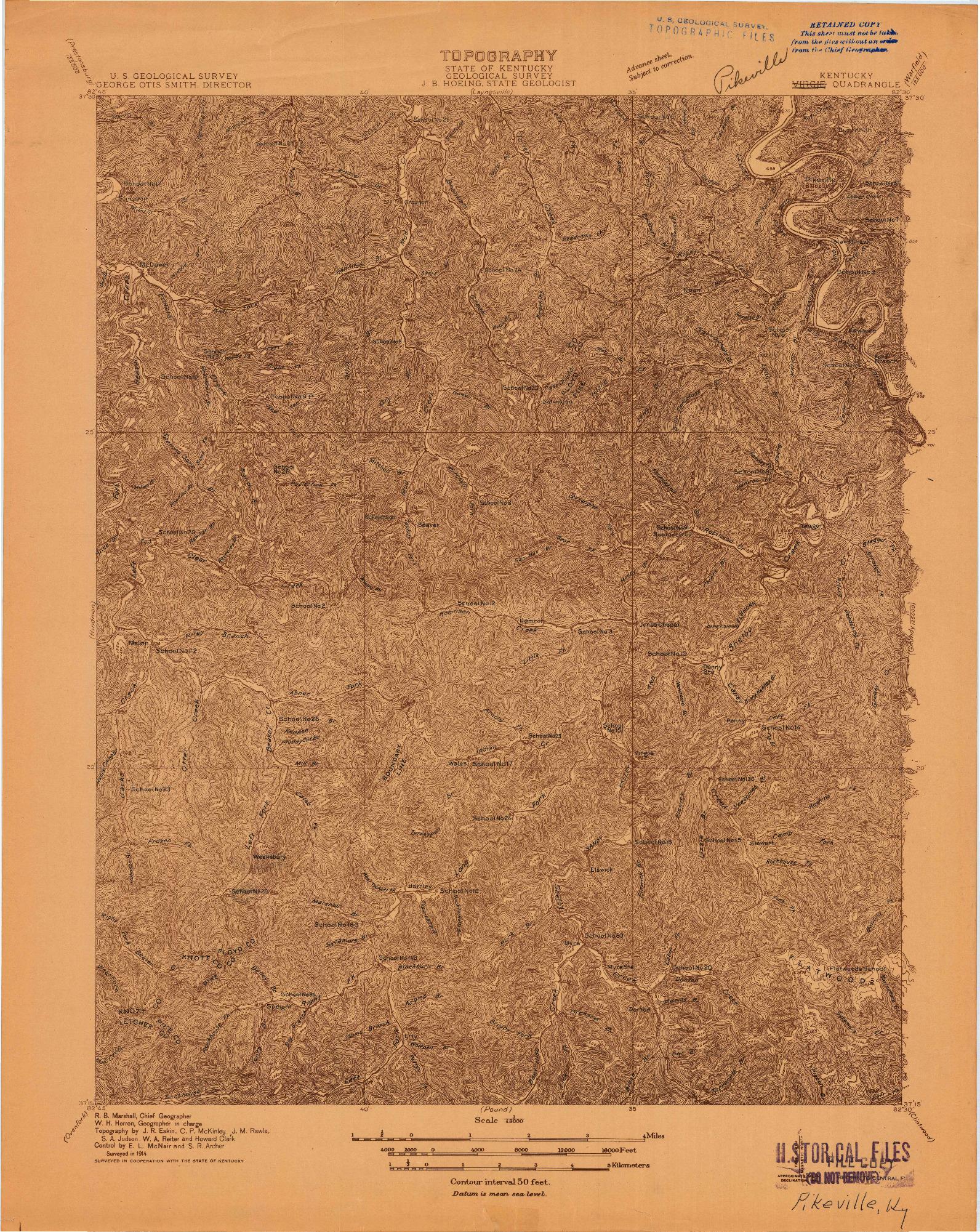 USGS 1:48000-SCALE QUADRANGLE FOR VERGIE, KY 1914