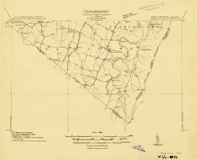 USGS 1:48000-SCALE QUADRANGLE FOR BERRYVILLE, WV 1914