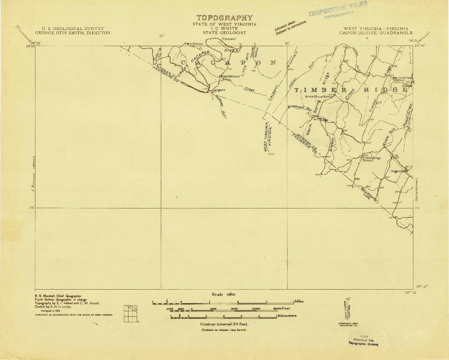 USGS 1:48000-SCALE QUADRANGLE FOR CAPON BRIDGE, WV 1914