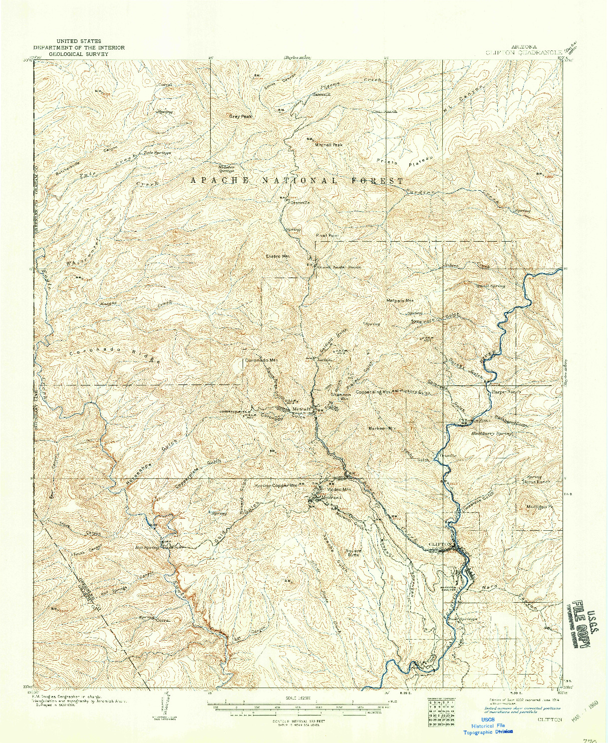 USGS 1:62500-SCALE QUADRANGLE FOR CLIFTON, AZ 1902
